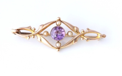 15ct Amethyst Brooch