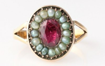 22ct Garnet Pearl Ring