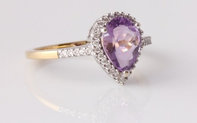Amethyst Diamond Pear Ring