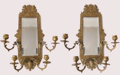Brass Mirror Pair
