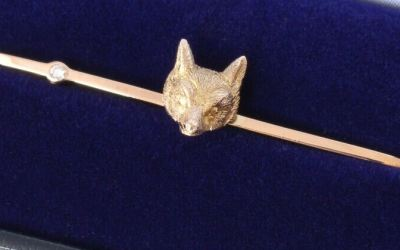 Diamond Fox Brooch