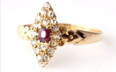 Diamond Ruby Marquise Ring