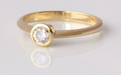 Gold 0.25ct Rubover Ring