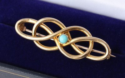 Gold Turquoise Brooch