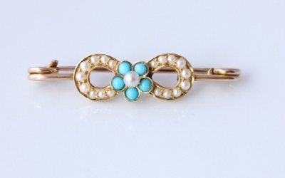 Gold Turquoise Pearl Brooch