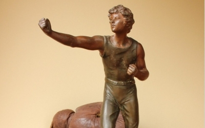 Large Metal Boxer Figure