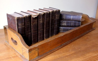 Oak Brass Library Book Tray