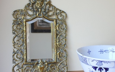 French Rococo Brass Wall Mirror