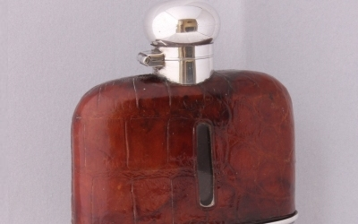 Silver Leather Hip Flask